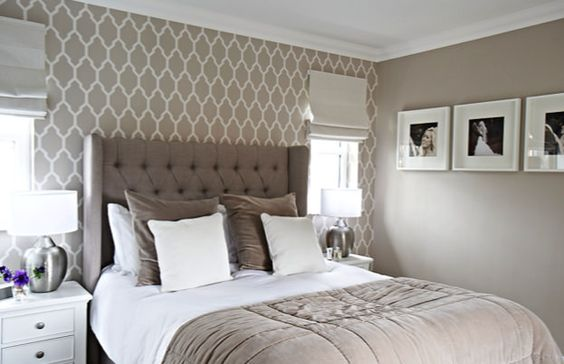 Master bedroom, Elephants Breath Farrow and Ball paint, Tessella Farrow and Ball wallpaper, upholstered bed, White Company Throw and cushions, Designers Guild Sloane material by Interior Therapy.