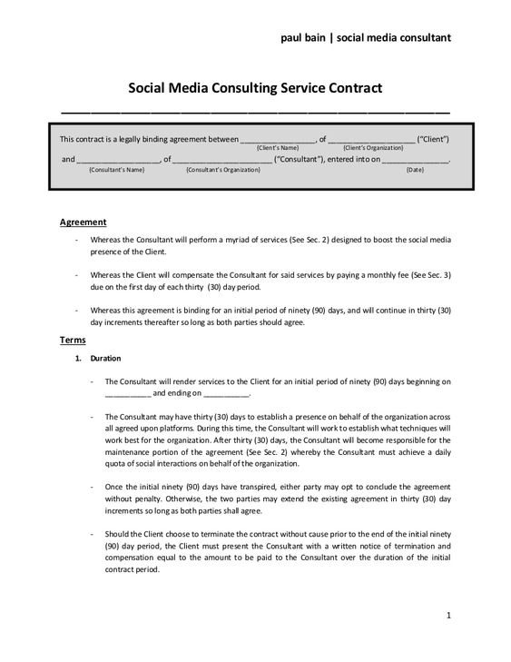 Social Media Consulting Services Contract Entreprenurial Pinterest - export contract sample