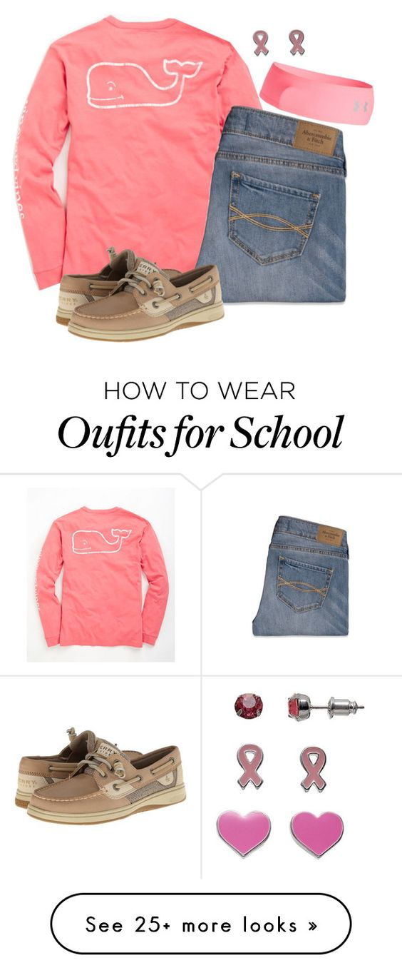 """Pink Out Day At School"" by hailstails on Polyvore featuring Vineyard Vines, Abercrombie & Fitch, Sperry Top-Sider and Under Armour"