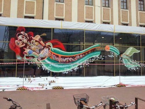 Mermaid Graffiti Wall @ Fat Village - YouTube