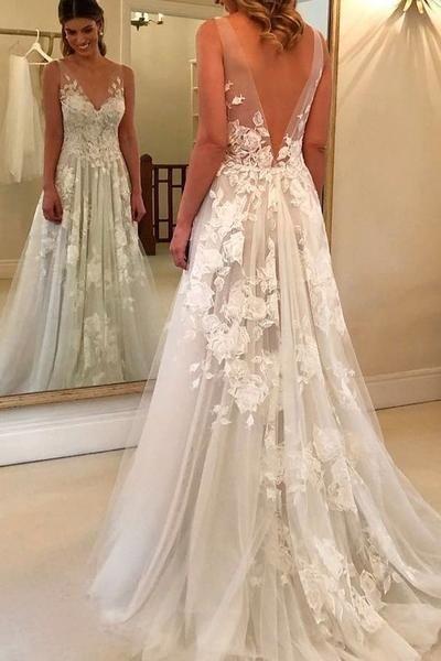 V-Neck Appliques Beach Country Wedding Dress