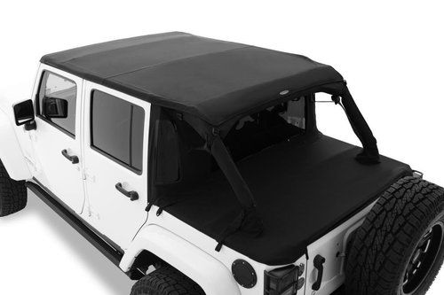 Bushwacker Black Trail Armor Twill Flat Back Soft Top 4 Door Only