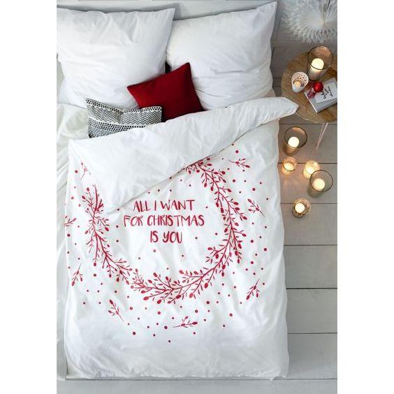 Bettwäsche, Weihnachts-Print, Romantik-Look, Baumwolle
