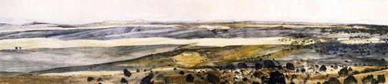 """Land's Lament  Mixed media on paper. 36"""" by 180"""". 2009. Monique Janssen-Belitz"""