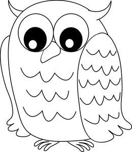 Owl Clipart Image Black And White Owl With Wide Eyes Owl Coloring Pages Owl Clip Art Owls Drawing