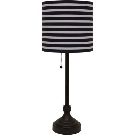 Better Homes and Gardens Bronze Table Lamp with NavyWhite Striped
