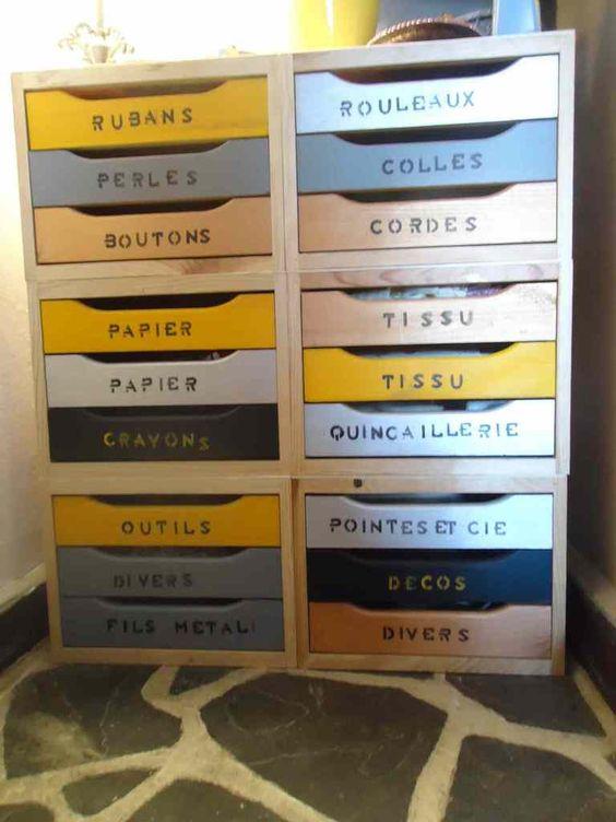 Avec des cubes de bois à 3 tiroirs ( achetés dans un magasin de bricolage à 9,90€ l'unité) fabriquez une petite commode de rangement style & atelier&. Fournitures: 6 cubes de bois à 3 triroirs de la peinture acrylique en tube ( achetée chez gifi 3,40€...