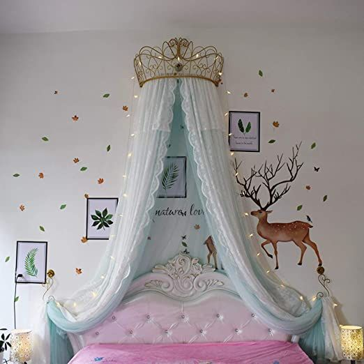 Ge Amp Yobby Lace Bed Canopy Crown Princess Double Color Bed Curtain Court Mosquito Net With Decorative D Bed Crown Canopy Girls Bed Canopy Princess Canopy Bed