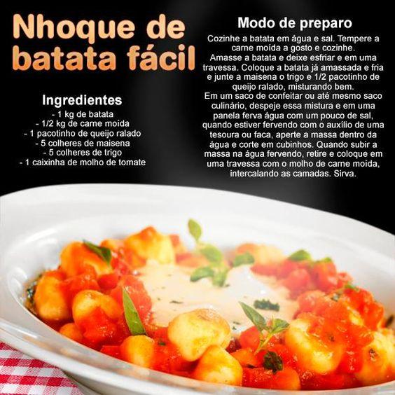 Que tal uma massa no domingo? Separamos pra você essa deliciosa receita de nhoque de batata super fácil!!!!:
