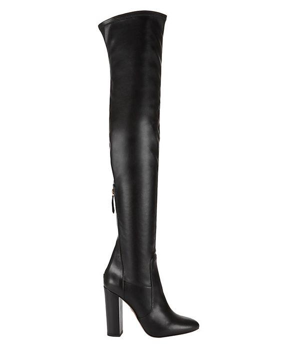 Aquazzura Thigh-High Stretch Leather Boot: Black: Stretch leather ...