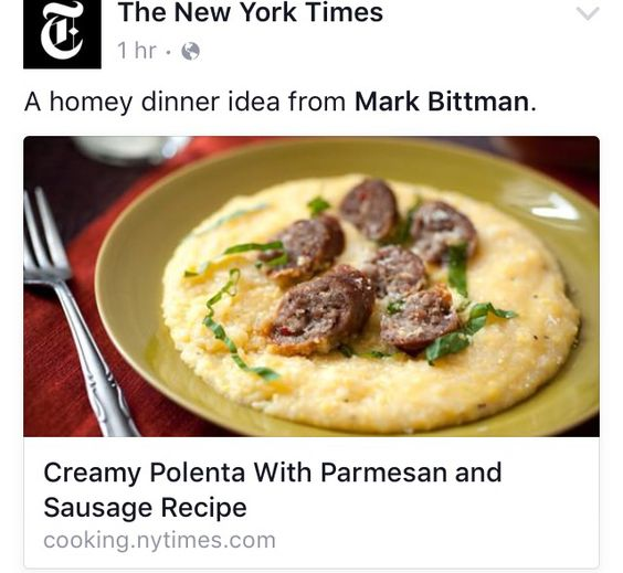 http://cooking.nytimes.com/recipes/1013040-creamy-polenta-with-parmesan-and-sausage?smid=fb-nytimes&smtyp=cur
