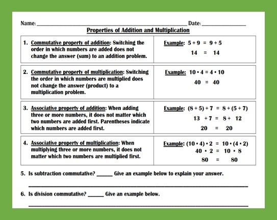 Properties Of Addition And Multiplication Worksheet Teaching And Practice Properties Of Addition Teaching Multiplication Worksheet Properties of addition worksheets