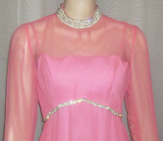 Vintage 1970's Long Rose Taft Couture Fashions PInk Rhinestone Maxi Dress Small by ShonnasVintage on Etsy