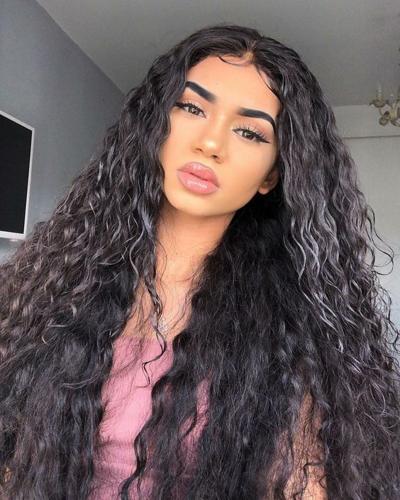Water Wave Hd Transparent Lace Frontal Human Hair Wigs For Women 180 Density Brazilian Lace Wig Curly Hair Styles Human Hair Lace Wigs Hair Styles