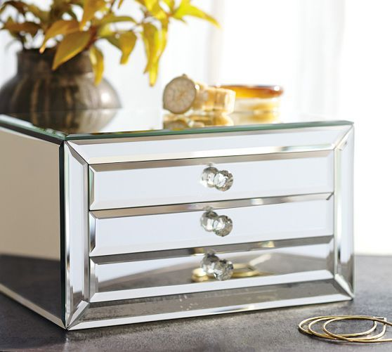 Makeup mirrored jewelry box and pottery on pinterest for Mirror jewellery box