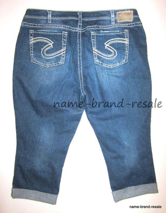 Details about TORRID SILVER Jeans NATSUKI CAPRI Womens PLUS 24 3X ...