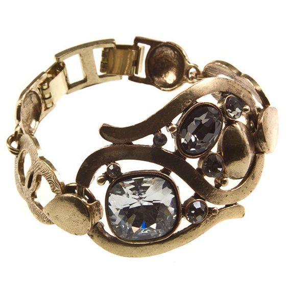 Gypsy Glam Gold and Rhinestone Bracelet $19 #statementjewelry #jewellery #jewlry