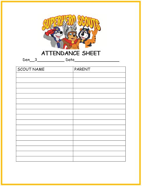 Rolls * for Cub Scout Den and Pack Meetings ~ Den Leader Records - meeting sign in sheet