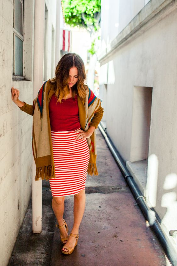 Red And White Striped Skirt 64