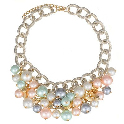 Elegant Multicolor Pearl Decorated Simple Design Alloy Fashion Necklaces:Asujewelry.com
