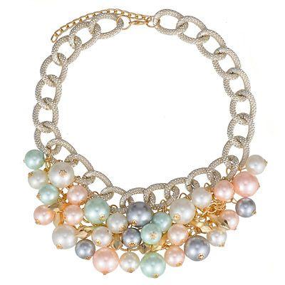 Elegant Multicolor Pearl Decorated Simple Design Alloy Fashion Necklaces:Asujewelry.com