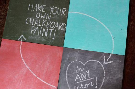 Make your own Chalkboard paint.: Fun Idea, Diy Chalkboard, Color Chalkboards, Diy Craft, Colored Chalkboard Paint, Colorful Chalkboards, Colourful Chalkboards