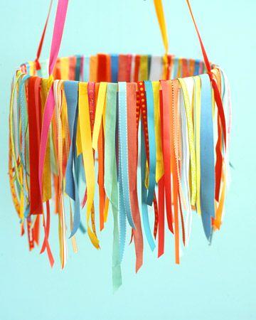 ribbon chandelier: Parties Decorations, Ribbon Chandelier, Kids Room, Party Decoration, Party Idea, Embroidery Hoop