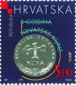Sello: 150th ANNIVERSARY OF THE MINTING OF THE JELACIC KREUTZERAND (Croacia) (Anniversaries of Croatian Money) Mi:HR 507,Cro:HR 329