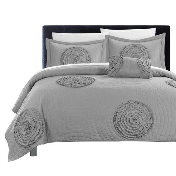 Europa Jupiter Ruched Abstract 8 Piece Quilt Sheet Set King & Queen Silver