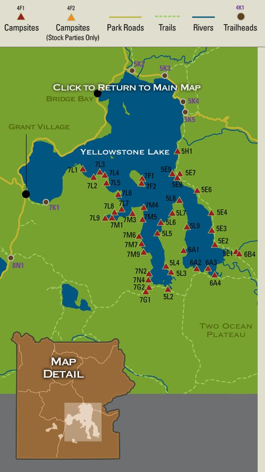Map Showing Backcountry Campsites In The Shoshone Lake Region Of - Yellowstone national park us map