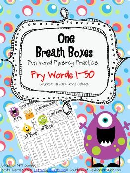 Free! One Breath Boxes for Fry words 1-50