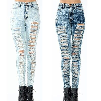 Where can I get these high waist acid washed ripped jeans, someone ...