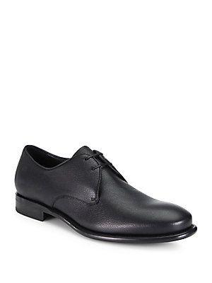 Salvatore Ferragamo Stefano Pebbled Leather Oxfords