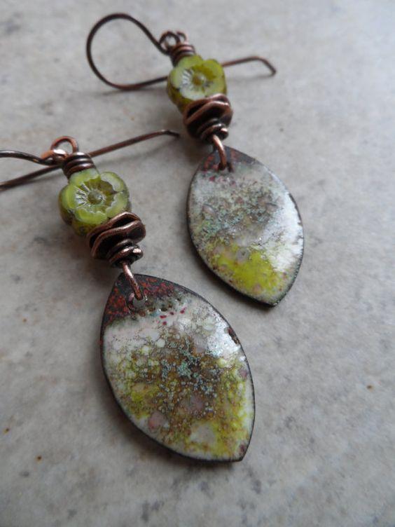 Fresh Mint ... Enameled Copper Charms Czech Glass by juliethelen