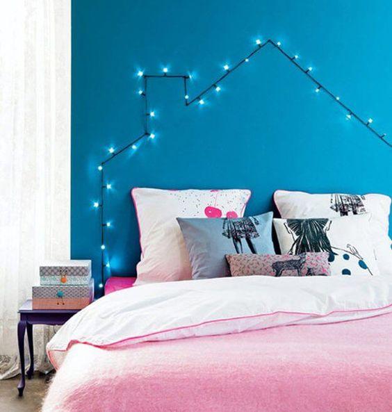 DIY Wohndeko-Ideen mit Lichterketten, Kopfende mit Beleuchtung
