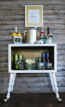 upcycled gold tiled bar cart, painted furniture, repurposing upcycling