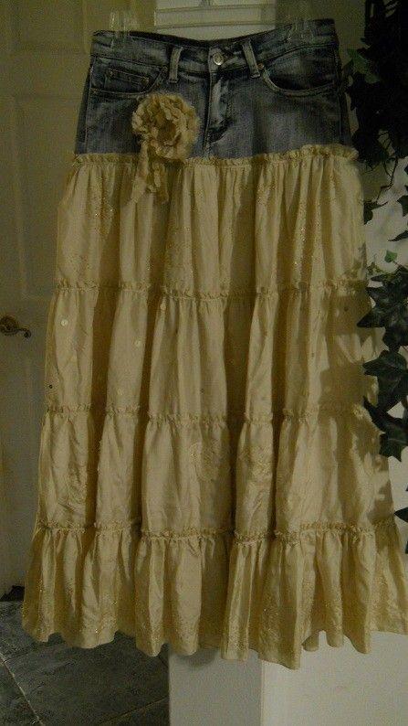 Crème Brûlée jean skirt cream silk lace rose Renaissance Denim Couture bohemian tiered layered beige vintage