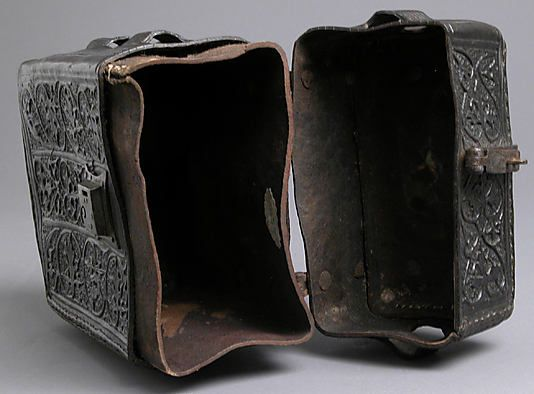 Leather Book Case - On the back is an unidentified coat of arms with a crozier and mitre, suggesting that this protective cover for a book belonged to a bishop - French - 15th century - Interior View