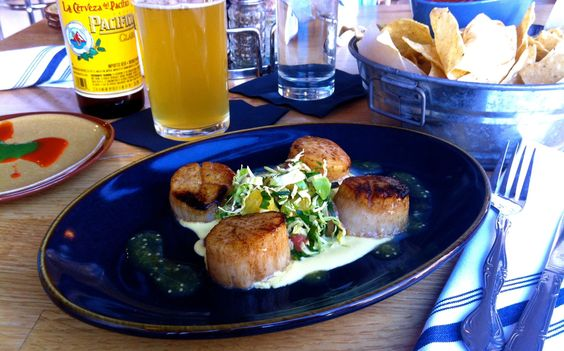 Week of 1/13/14: Day Boat Scallops-seared scallops, rosemary corn purée, brussel sprout fricassee & citrus.