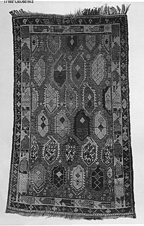 Caucasian Rugs & Carpets in the Metropolitan Museum of Art, New York caucasian rug  Date: 19th century Geography: Caucasus Medium: Wool Dimensions: 63 in. high 42.00 in. wide (160.02 cm high 106.68 cm wide) Classification: Textiles-Rugs Credit Line: Bequest of Julian Clarence Levi, 1971 Accession Number: 1971.200.11