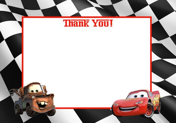 instant download disney cars printable thank you card