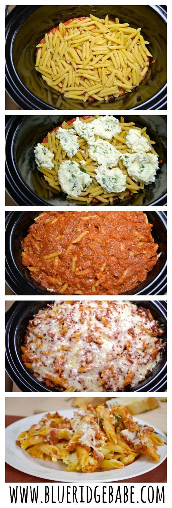 easy crockpot baked ziti - pinned over 50k times. Super easy and delicious! I used my regular pasta sauce. Using all parmesan cheese instead of asiago would be fine.: