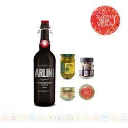 Lote Vermuth Arlini Con 3 Complementos, Alacena de la Vega. Este lote esta formado por una botella de Vermouth Clásico Arlini, un tarro de aceituna manzanilla deshuesada, un bote de espirales de canela y un tarro de naranja kumquat deshidratada. #regalo #navidad #vermouth #aceitunas #naranja #espiralescanela #alacena