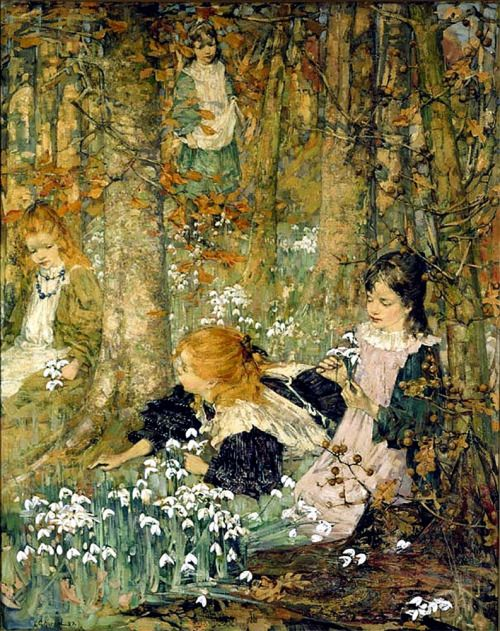 The Coming of Spring (also known as The Fair Maids of February)__ Edward Atkinson Hornel - 1899: