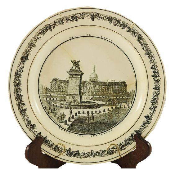 """Antique Black & White Plate """"Vue De Paris - Hotel Des Invalides"""""""