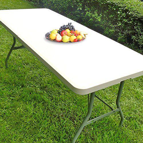 JOM 127130 Klapptisch Gartentisch Farbton Creme-hell mit Tragegriff, 183 x 75 x 74 cm, weiß JOM