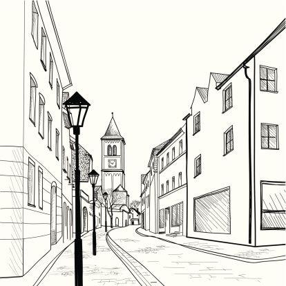 Sketsa Gambar Pemandangan Kota
