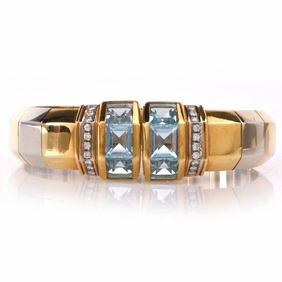 Estate Aquamarine Diamond Gold Cuff bracelet Item #: 647351