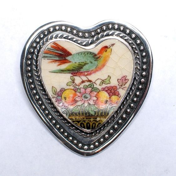 Broken China Jewelry Autumn Robin Sterling Pin Brooch