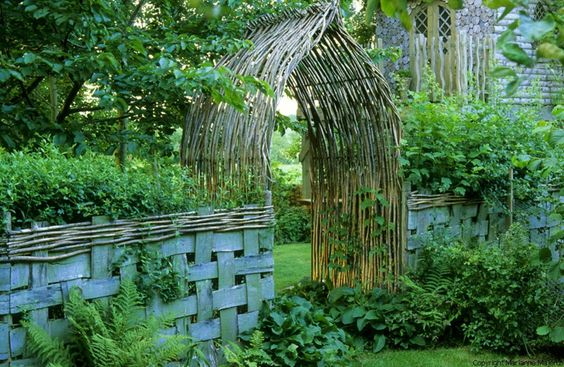 willow arbor and basket weave fence!